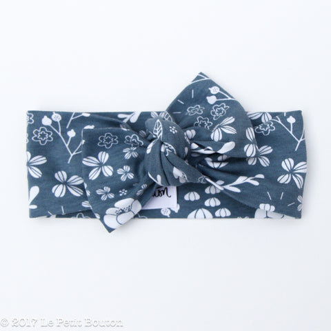Winter 17 Bow Knot Headband - Denim Floral