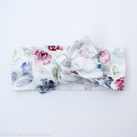 Organic Cotton Bow Knot Headband - Winter Floral