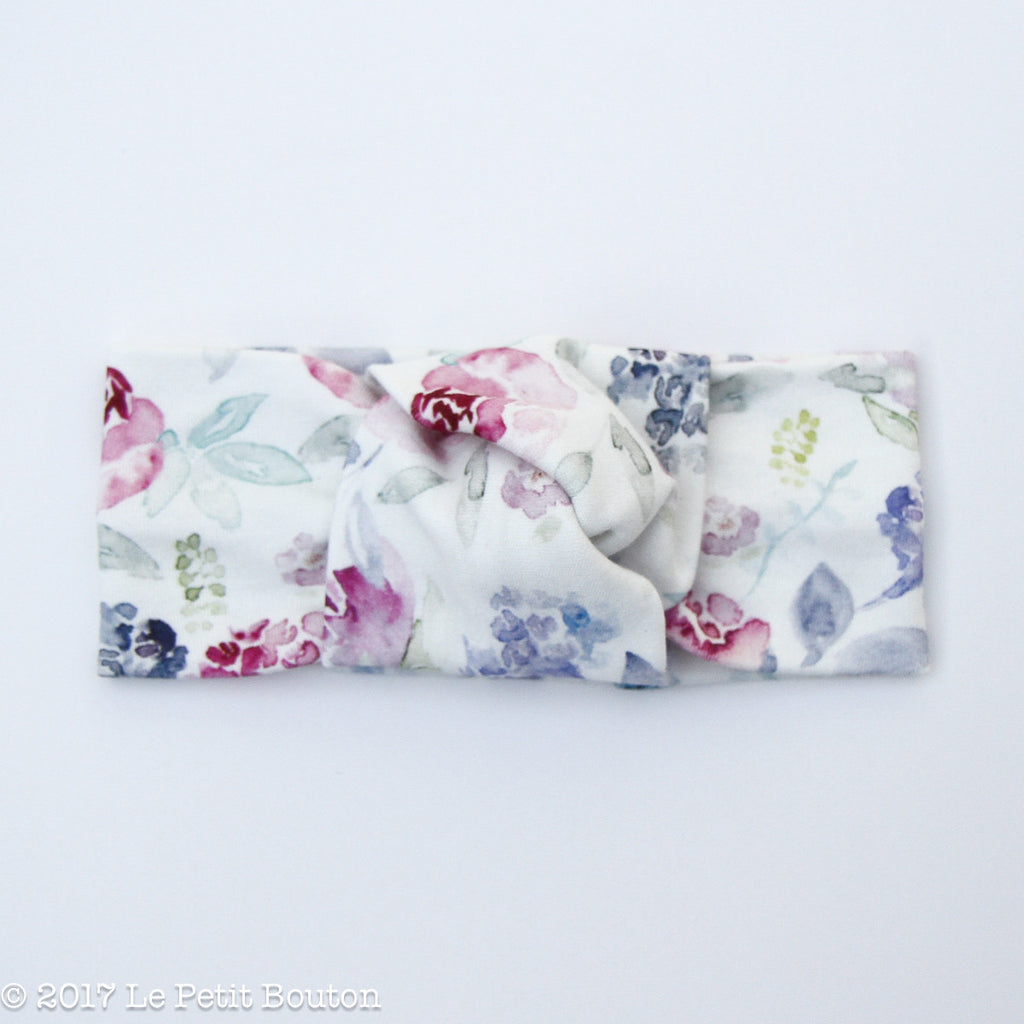 Winter 17 Knotted Turban Organic Headband - Winter Floral