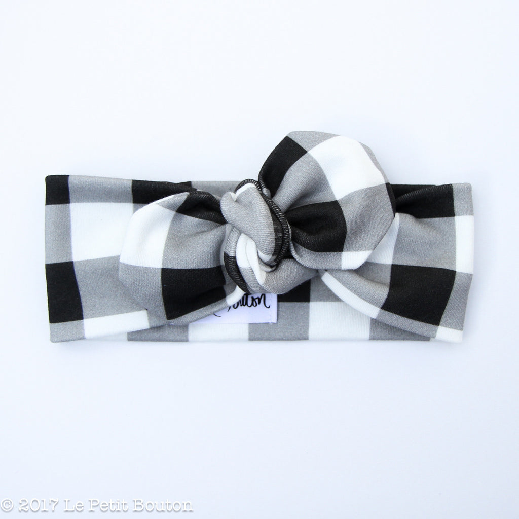 Winter 17 Top Knot Organic Headband - Monochrome Gingham