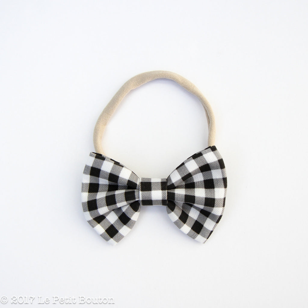 Winter 17 Large Linen Bow Headband - Monochrome Gingham