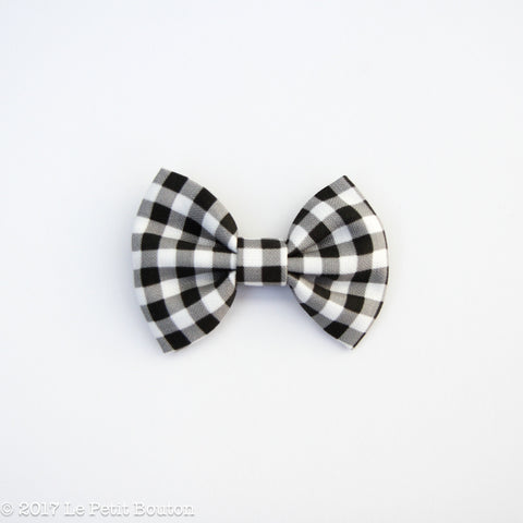 Winter 17 Large Linen Bow Hairclip - Monochrome Gingham