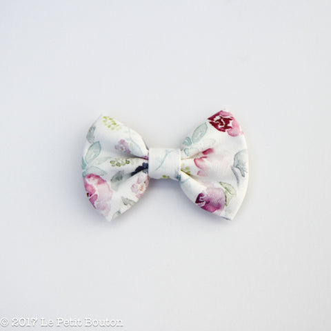 Winter 17 Large Linen Bow Hairclip - Winter Floral