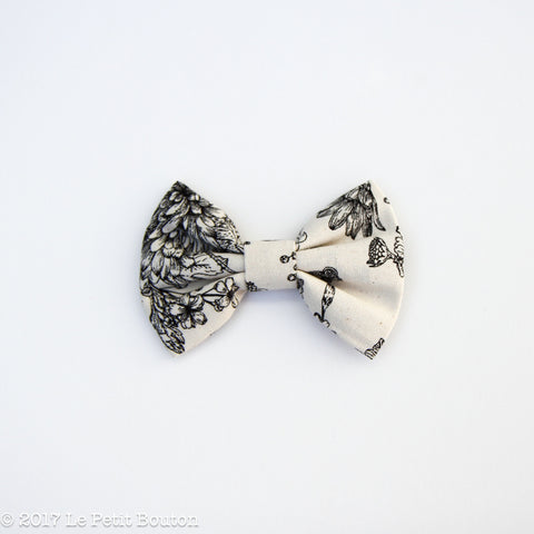 Winter 17 Large Linen Bow Hairclip - Natural Botanical