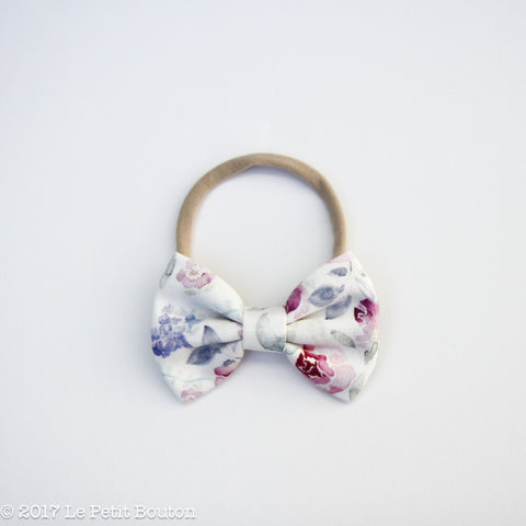 Large Linen Bow on Nylon Headband - Winter Floral