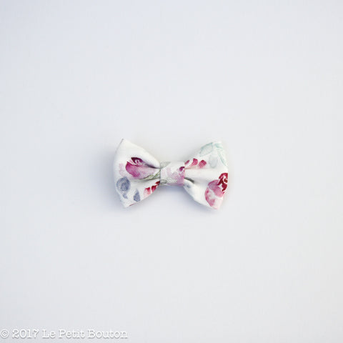 Winter 17 Small Linen Bow Hairclip - Winter Floral