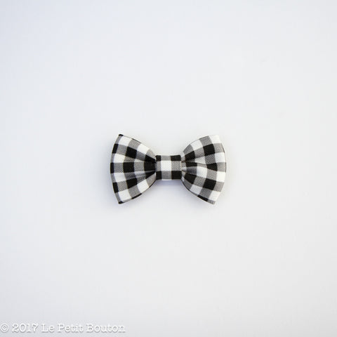 Winter 17 Small Linen Bow Hairclip - Monochrome Gingham