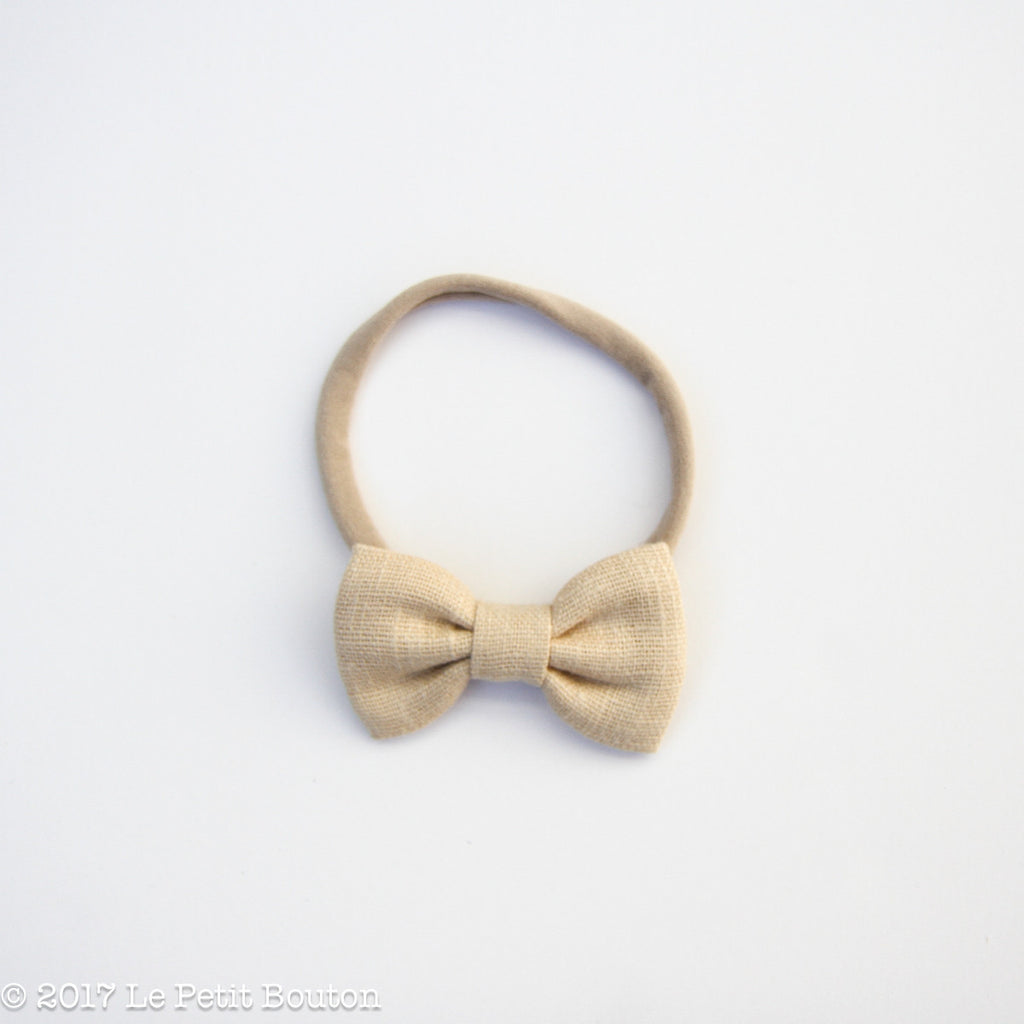 Winter 17 Small Linen Bow Headband - Wheat