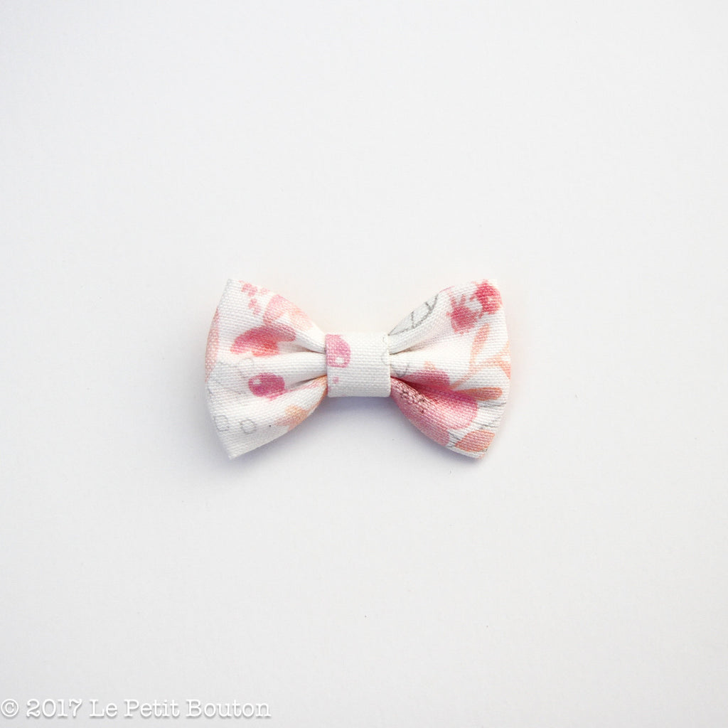Small Linen Bow Hairclip - Blush Floral