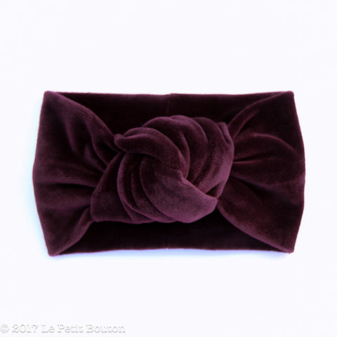 Winter 17 Knotted Turban Headband - Plum Velvet
