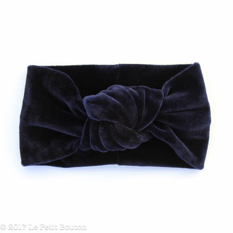 Winter 17 Knotted Turban Headband - Navy Velvet