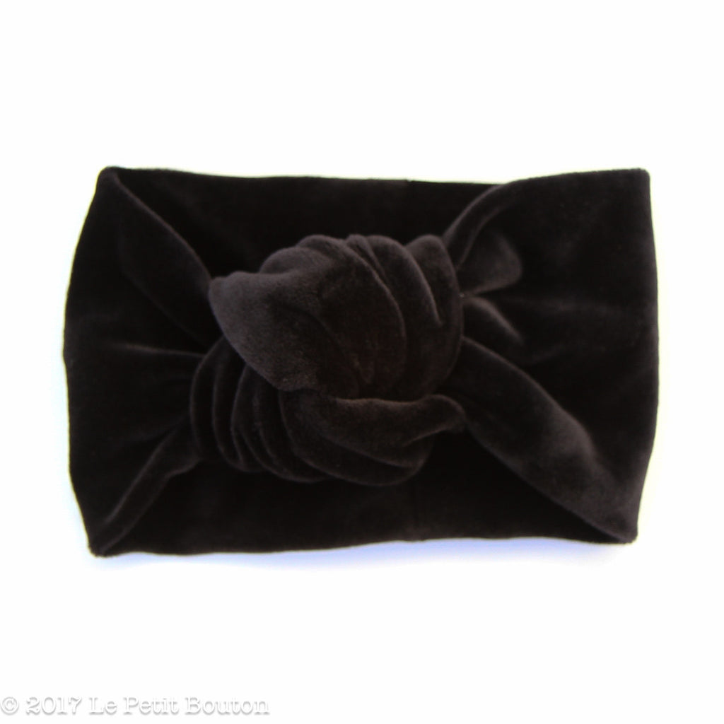 Winter 17 Knotted Turban Headband - Black Velvet