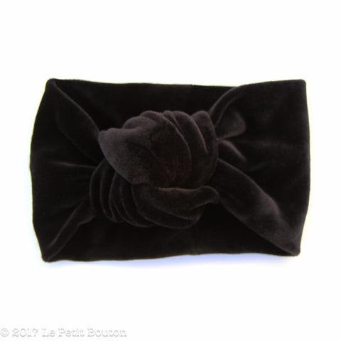 W2020 Winter Knotted Turban Headband - Black Velvet