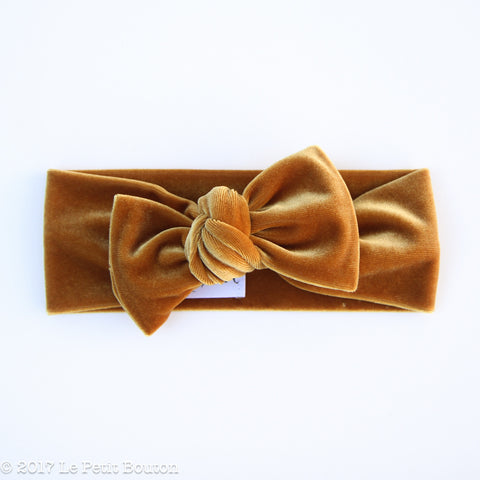 Winter 17 Bow Knot Headband - Gold Velvet