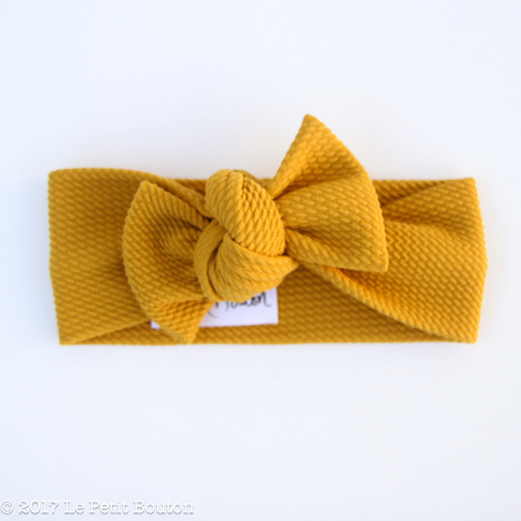 Winter 17 Bow Knot Headband - Textured Mustard