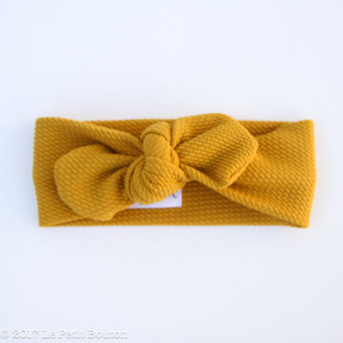 Top Knot Headband - Textured Mustard