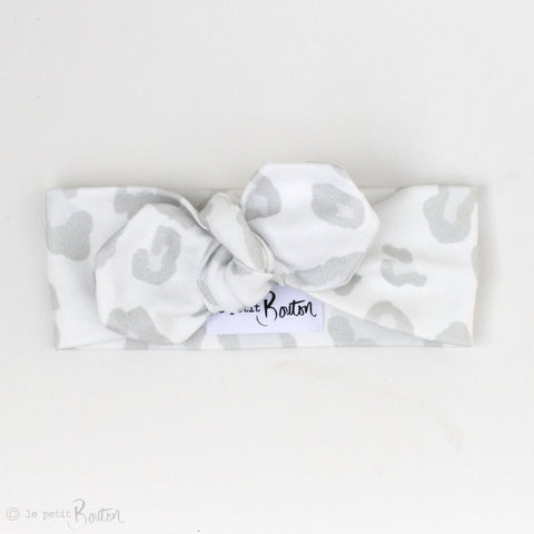 Organic Cotton Top Knot Headband - Snow Leopard