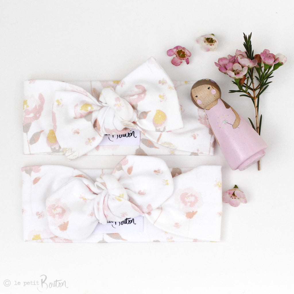 '17 Organic Cotton Bow knot Headband - spring rose buds