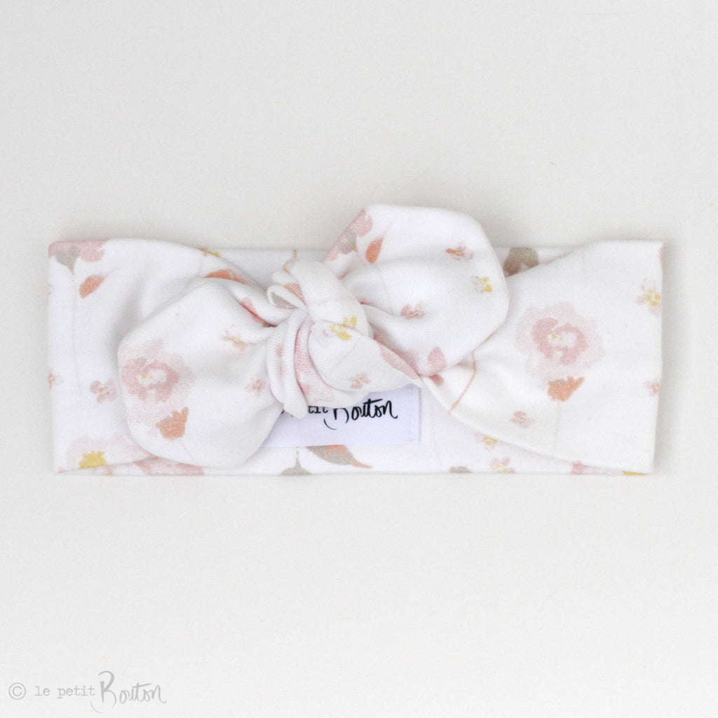 '17 Organic Cotton Top Knot Headband - Spring Rose Buds