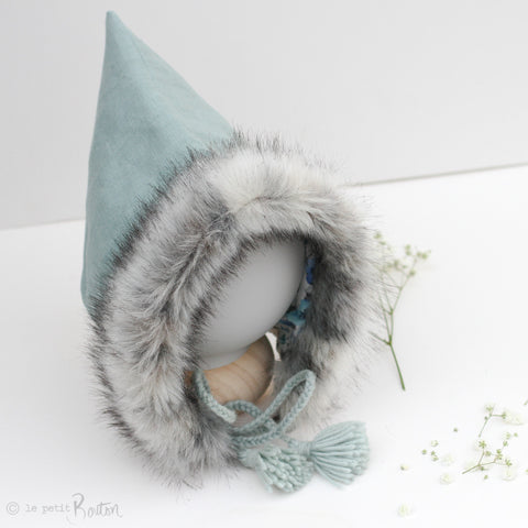Autumn18 Pixie Hood - Mosaic blue Linen