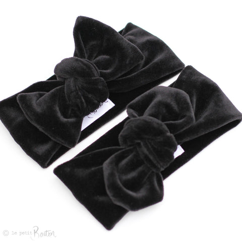 Luxe Velvet Bow Knot Headband - Black