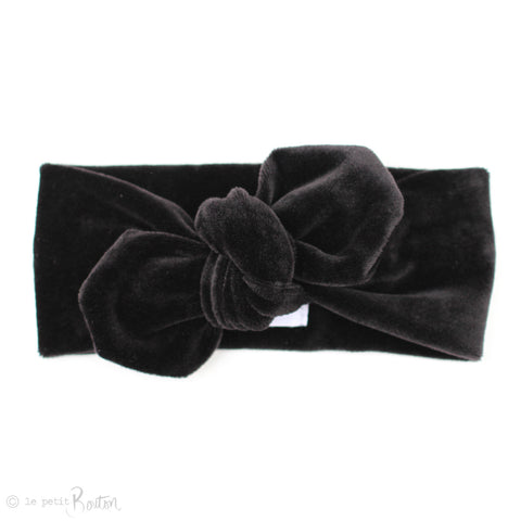 aw19/2 Luxe Velvet Top knot Headband - Black