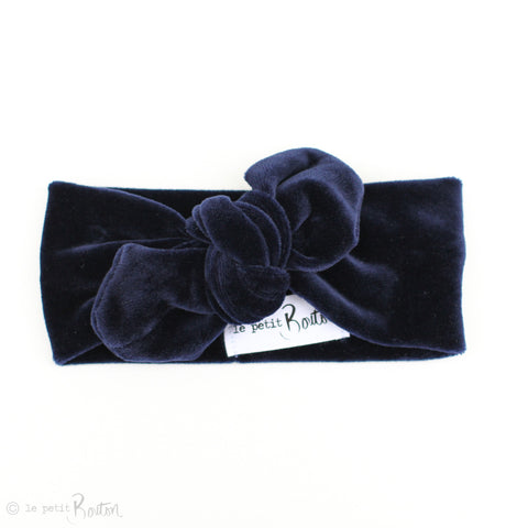 '17 Luxe Velvet Top Knot Headband - Navy