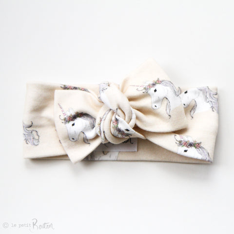 Penny and Co Collaboration Unicorn Organic Bow Knot Headband - Buttermilk