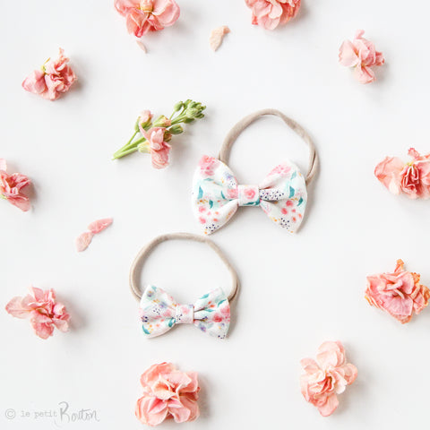 Spring17 Small Linen Bow Nylon Headband
