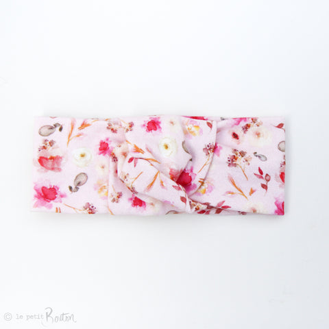 Spring17 Organic Cotton Knotted Turban Headband - Wildflower Pink