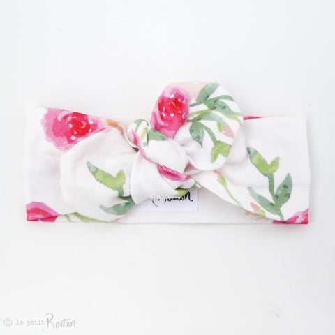 Organic Cotton Top Knot Headband - Peony Pink