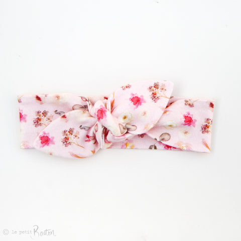 Spring17 Organic Cotton Leaf End Top Knot Headband - Wildflower Pink
