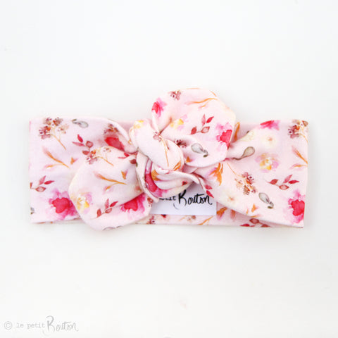 Spring17 Organic Cotton Spade End Top Knot Headband - Wildflower Pink