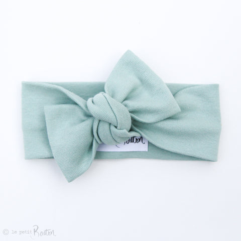Spring17 Organic Cotton Ribbed Bow Knot Headband - Muted Green