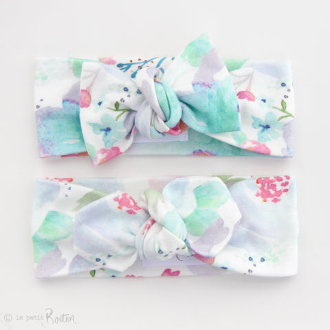 Organic Cotton Top Knot Headband -Watercolor Crush