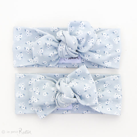 Spring/Summer17 Organic Cotton Bow Knot Headband - Pretty Blue Floral