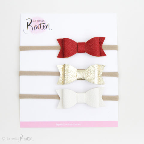 Christmas Set of 3 Faux Leather Bows on Nylon Headbands - Christmas Joy