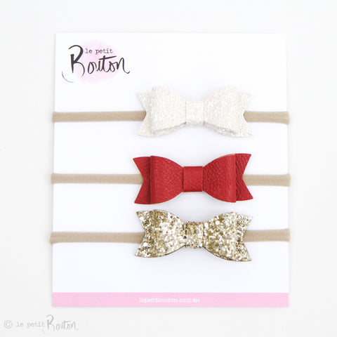 Christmas Set of 3 Faux Leather Bows on Nylon Headbands - Just Add Glitter