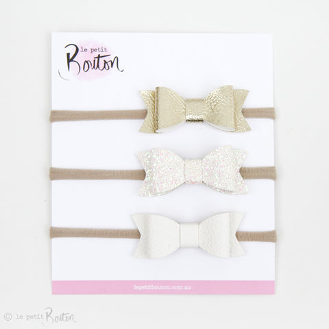 Gift Set of 3 Faux Leather Bows on Nylon Headbands - Let It Snow