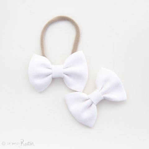 Large White Linen Bow Hair Clip - Crisp White