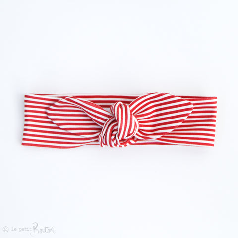 Christmas Organic Cotton Slim Top Knot Headband - Candy Cane