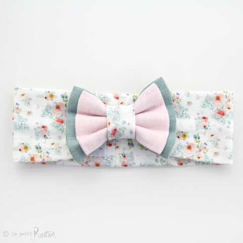 Spring/Summer17 Double Bow Turban Headband - Cottage Floral