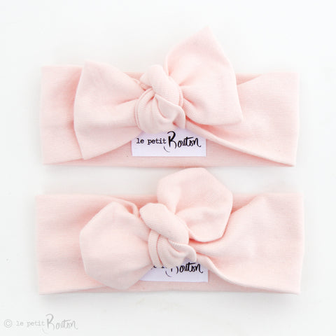 Organic Cotton Ribbed Top Knot Headband- Blush