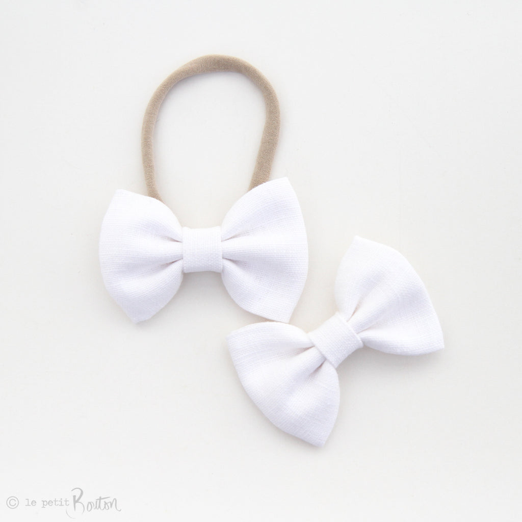 Christmas Large Linen Bow Headband - Crisp White