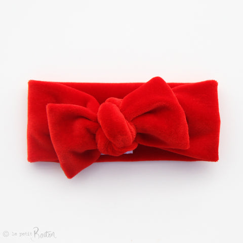 Christmas Luxe Velvet Bow Knot Headband -  Red