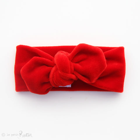Christmas Luxe Velvet Top Knot Headband - Christmas Red