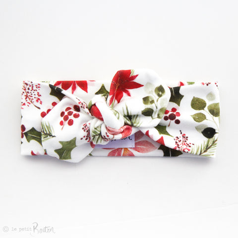 Christmas Organic Cotton Top Knot Headband- Floral Me Christmas