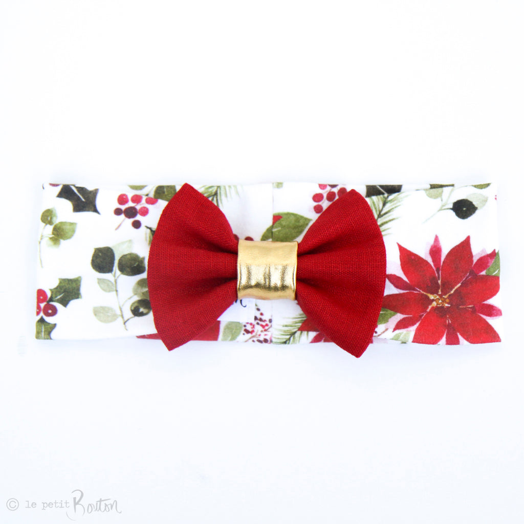 Christmas Organic Cotton & Linen Bow Turban - Floral me Christmas
