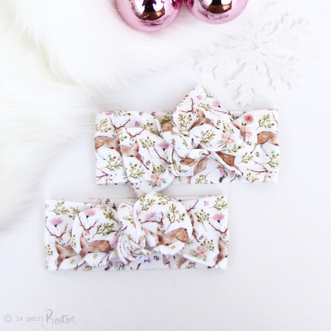 Organic Cotton Bow Knot Headband - I Love You Deer