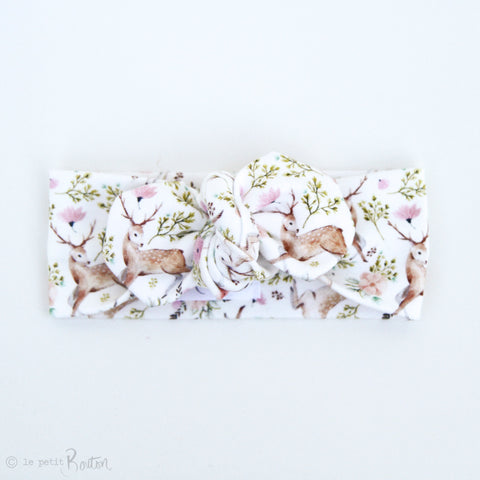 Organic Cotton Top Knot Headband - I Love You Deer